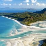 Aerial view of Whitehaven Beach and Hill Inlet