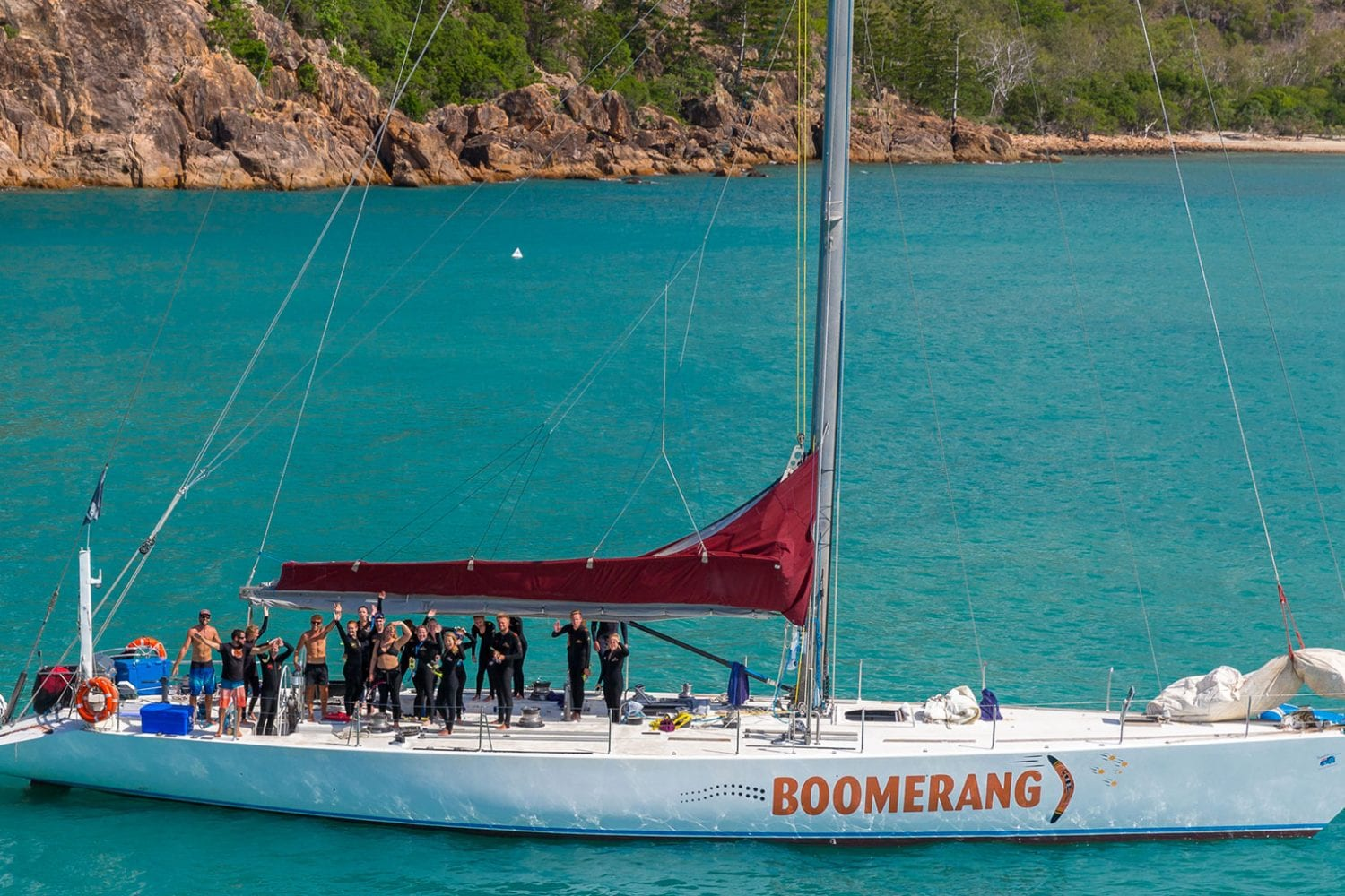 Boomerang---At-Anchor-Prior-to-Snorkelling---Airlie-Beach-Tourism